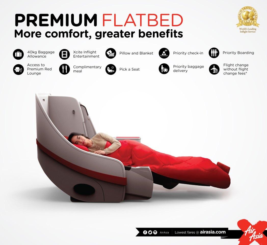 エアアジアXの上級座席「プレミアムフラットベッド」