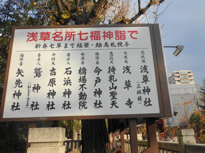 浅草名所七福神巡りの9社寺を紹介する看板