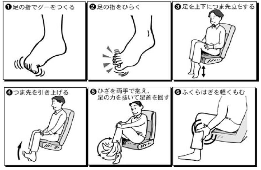 自分の席に座ったまま簡単にできる足の運動