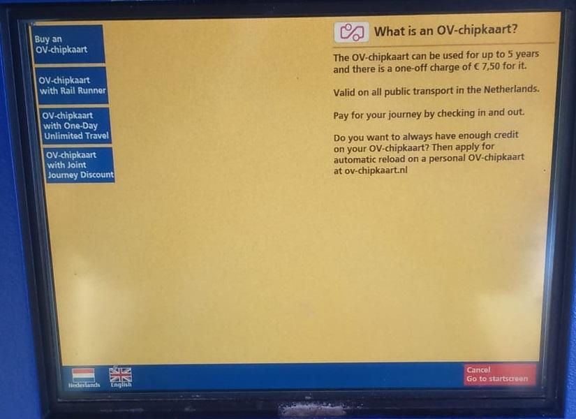 <Buy an OV-chipkaart >を選択