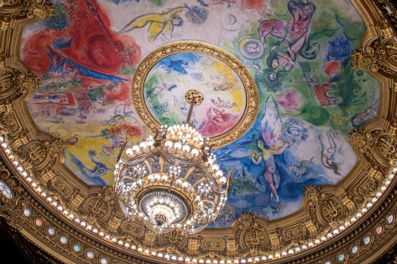 客席の上部にある天井画『夢の花束』