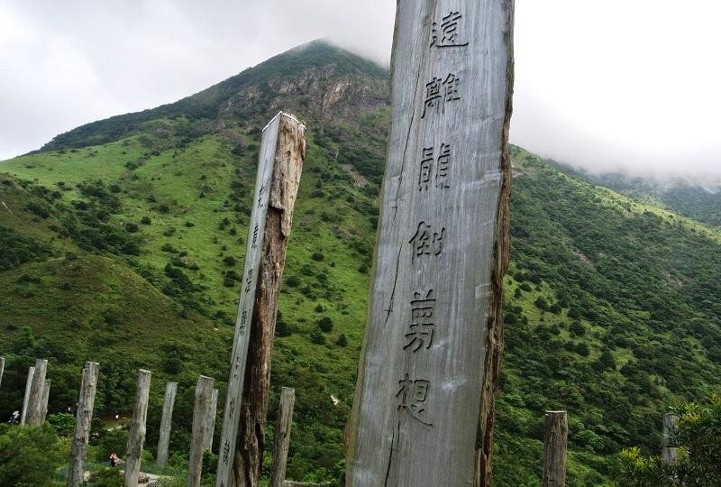般若心経の一節が彫りこまれた38本の木柱