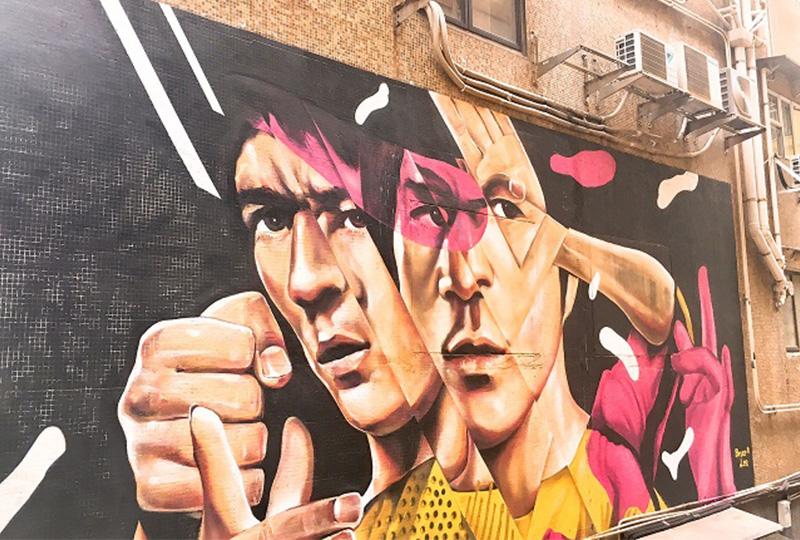 香港の永遠のヒーロー、ブルース・リーを描いたストリートアート