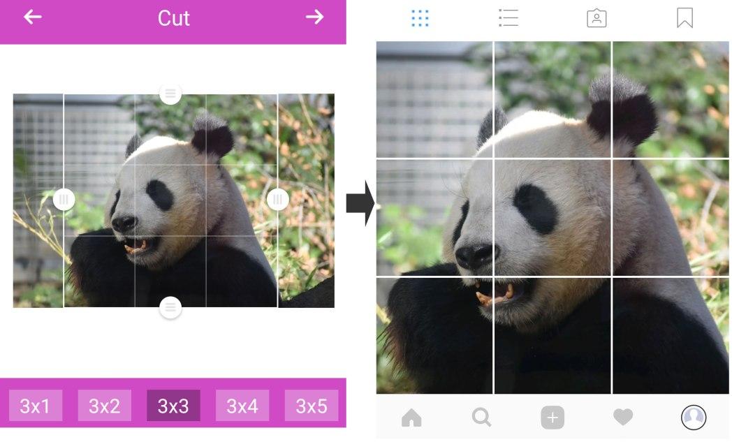 1つの画像を9分割して投稿するツールもある