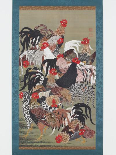 伊藤若冲〈群鶏図〉(動植綵絵30幅のうち)宮内庁三の丸尚蔵館所蔵