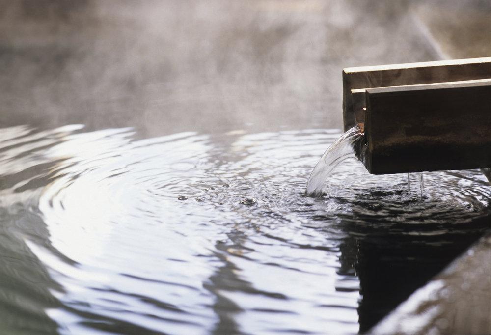 温泉、かけ流し