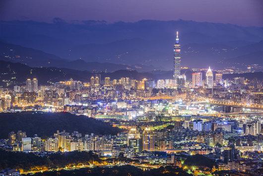台北のスカイラインと夜景、台湾