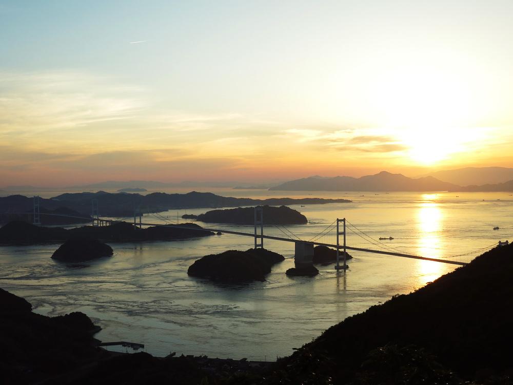 亀老山展望公園から見る夕日
