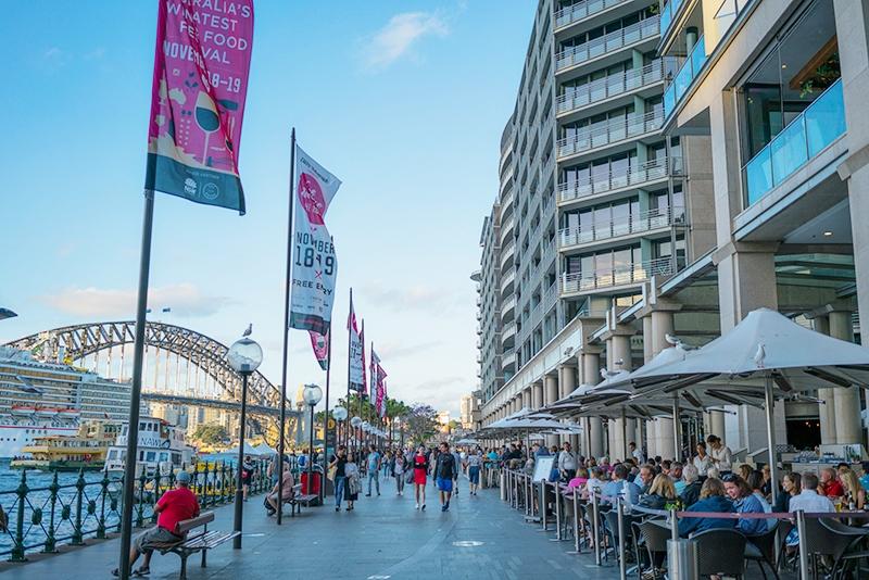 オペラハウスに続く、シドニー湾に沿った遊歩道