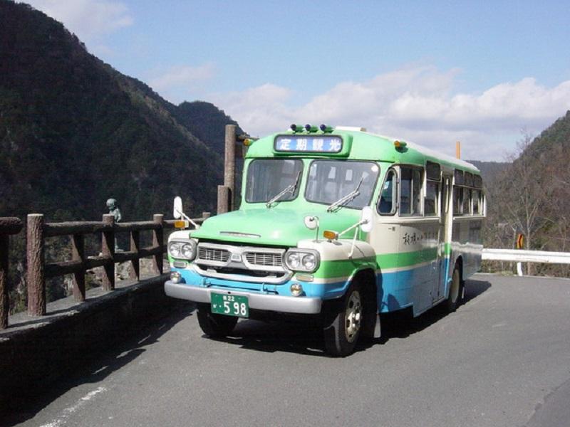 観光スポットを巡る、かわいらしい形のボンネットバス