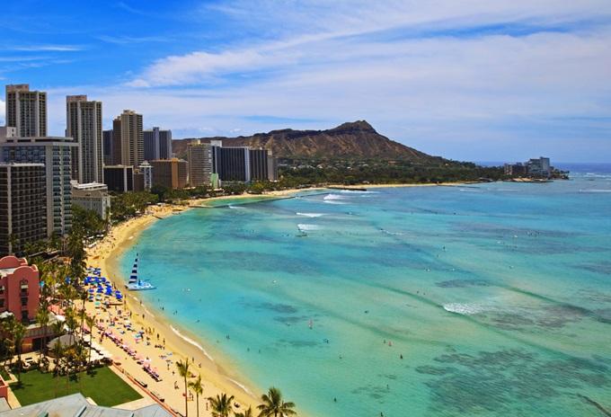 ハワイ、ホノルル、ワイキキビーチ