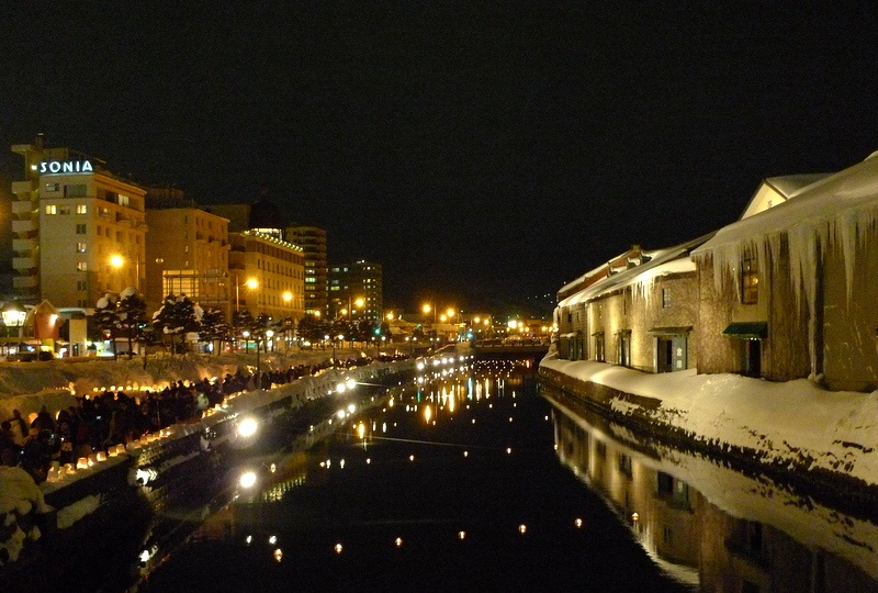 「小樽雪あかりの路」の会場のひとつ「運河会場」